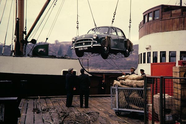 lochiel being loaded islay mail boat car