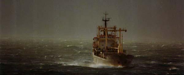 cargo ship in storm wejherowo