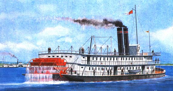 river paddle steamer ship kolumb