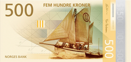 4 norwegian sea theme bank notes