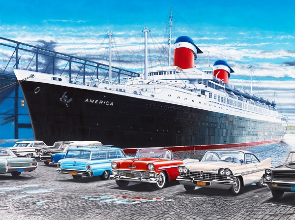 S/S America ocean liner maritime paintings Wayne Mazzotto