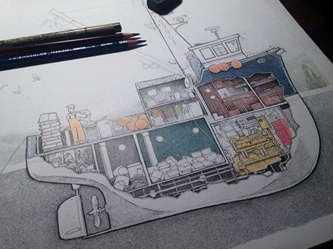 boat drawings tom crestodina maritime art