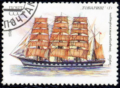 tovarisch tall ship stamp